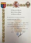 """""""Teniente Reservista Honorífico,"""" concedido el mes de octubre 2019 por  el Jefe  del Estado Mayor del Ejercito de Tierra."""
